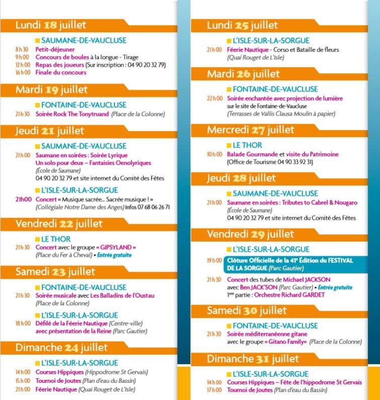 Programme de l 39 t des 5 communes - L isle sur la sorgue office de tourisme ...
